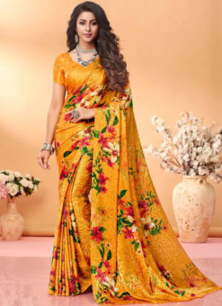 Lovely Mustard  Floral Print Jacquard Silk Casual Wear Saree