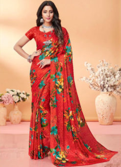 Amazing Red Floral Print Jacquard Silk Casual Wear Saree