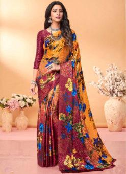 Multicolor Floral Print Jacquard Silk Casual Wear Saree