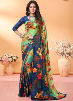 Attractive Blue Floral Print Jacquard Silk Casual Wear Saree