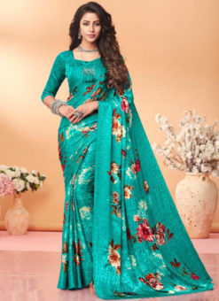 Awesome Sky Blue Floral Print Jacquard Silk Casual Wear Saree