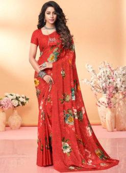 Lavish Red Floral Print Jacquard Silk Casual Wear Saree
