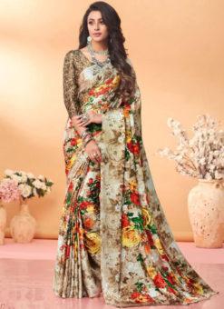 Elegant Gold Floral Print Jacquard Silk Casual Wear Saree