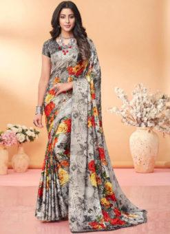 Beautiful Grey Floral Print Jacquard Silk Casual Wear Saree