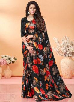Wonderful Black Floral Print Jacquard Silk Casual Wear Saree