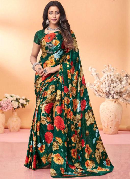 Delightful Green Floral Print Jacquard Silk Casual Wear Saree