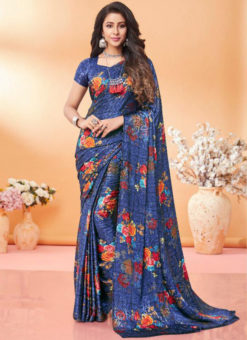 Excellent Grey Floral Print Jacquard Silk Casual Wear Saree