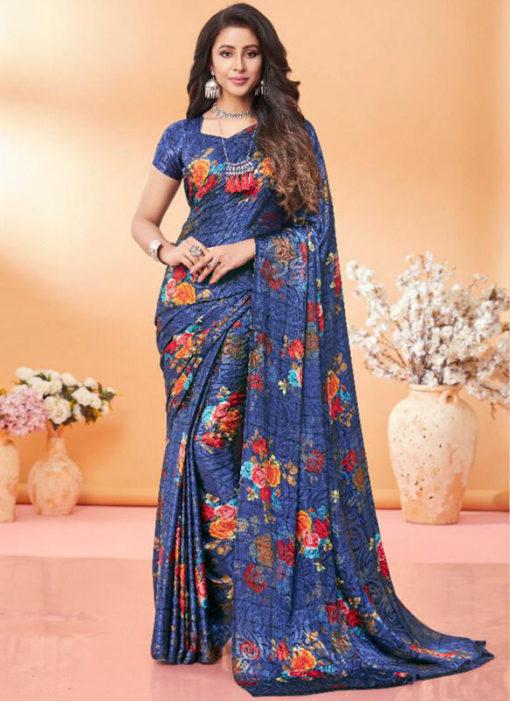 Excellent Grey Floral Print Jacquard Silk Casual Wear Saree
