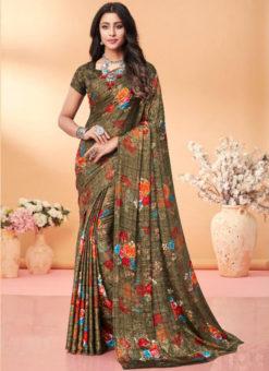 Classic Brown Floral Print Jacquard Silk Casual Wear Saree