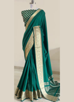 Elegant Green Silk With Woven Border And Sequence Blouse Designer Saree