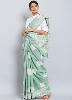 Lovely Sea Green Chanderi Silk Casual Wear Printed Saree