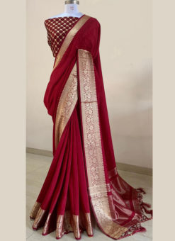 Jazzy Marron Silk With Woven Border And Sequence Blouse Designer Saree