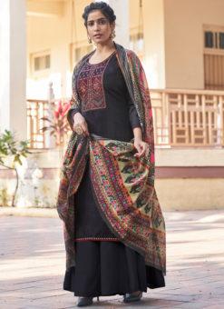 Elegant Black Embroidered Work Designer Cotton Salwar Suit