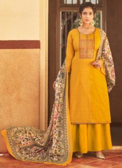 Amazing Brown Cotton Designer Embroidered Work Salwar Suit