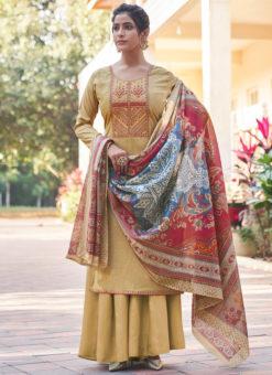 Classic Mustard Embroidered Work Cotton Designer Salwar Suit