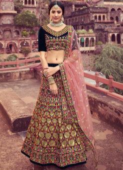 Amazing Embroidered Work Velvet Wedding Wear Designer Lehenga Choli