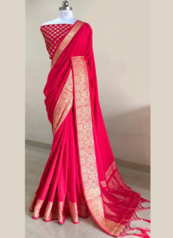 Attractive Pinkish Silk With Woven Border And Sequence Blouse Designer Saree
