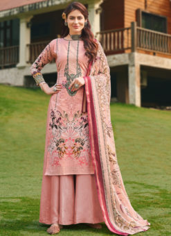 Attractive Pink Pure Cotton Digital Print Casual Wear Palazzo Suit