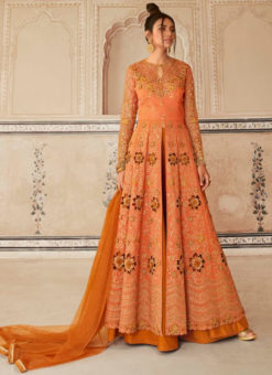 Stunning Orange Embroidered Work Designer Net Anarkali Suit