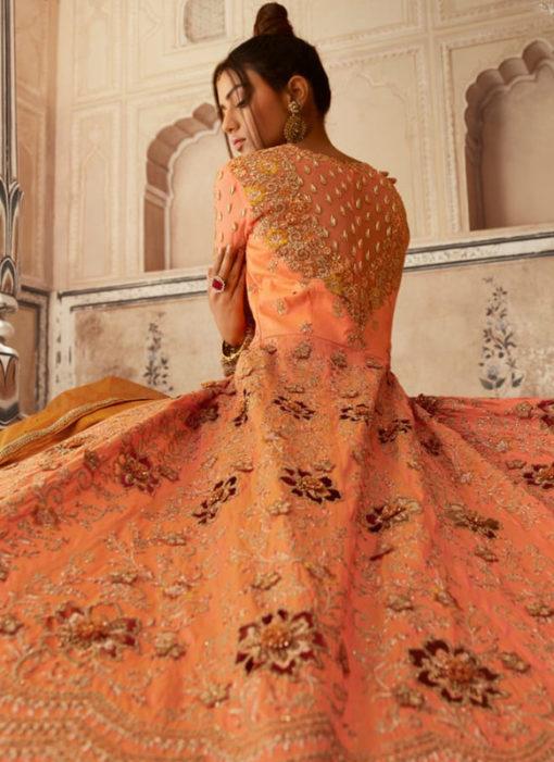 Stunning Orange Embroidered Work Designer Net Anarkali Suit