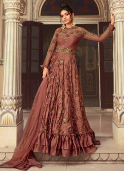 Shaded Pinkish Net Embroidered Work Designer Anarkali Suit