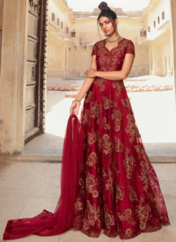 Amazing Embroidered Work Designer Net Red Anarkali Suit