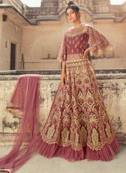 Classic Light Purple Net Designer Embroidered Work Anarkali Suit