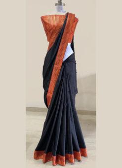 Wonderful Black Silk Zari Weaving Border Designer Saree