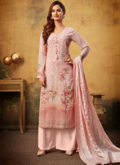 Attractive Pink Viscose Embroidered Work & Printed Designer Palazzo Suit