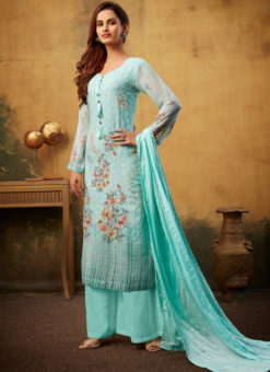 Awesome Sky Blue Embroidered Work And Printed Viscose Designer Palazzo Suit