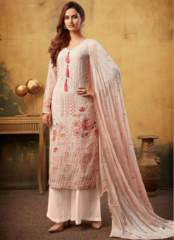 Beautiful Viscose Printed And Embroidered Work Designer Palazzo Suit