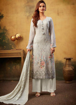Stunning Grey Printed And Embroidered Work Designer Palazzo Suit