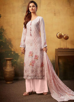 Graceful Pink Viscose Designer Embroidered And Printed Palazzo Suit