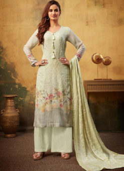 Lovley Pista Viscose Embroidered Work And Printed Designer Palazzo Suit