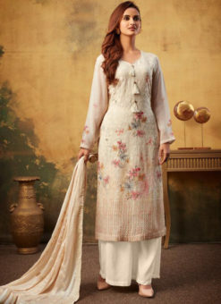 Classic Cream Printed And Embroidered Work Designer Viscose Palazzo Suit