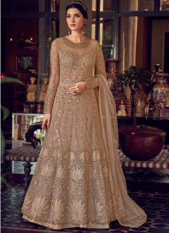 Fabulous Beige Butterfly Net Embroidered Work Designer Anarkali Suit