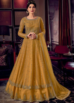 Pleasing Yellow Butterfly Net Embroidered Work Designer Anarkali Suit