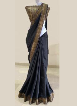 Lovely Black Silk Zari Weaving Border Designer Saree