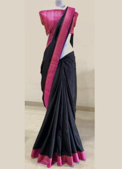 Attractive Zari Weaving Rani Border Black Designer Saree