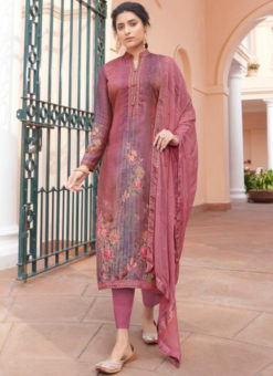 Karma Pink Jam Satin Digital Print And Handwork Designer Salwar Suit