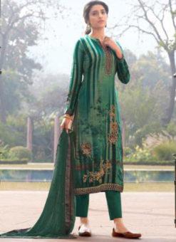 Karma Green Jam Satin Digital Print And Handwork Designer Salwar Suit