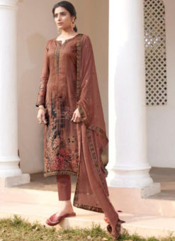 Karma Brown Jam Satin Digital Print And Handwork Designer Salwar Suit