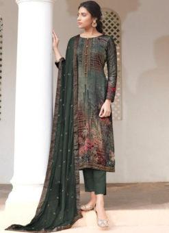 Karma Bottle Green Jam Satin Digital Print And Handwork Designer Salwar Suit