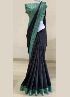 Elegant Sea Blue Border Zari Weaving Black Designer Saree