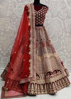 Maroon Velvet Resham Work Designer Wedding Lehenga Choli