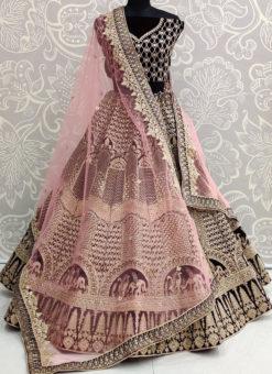 Black Velvet Resham Work Designer Sangeet Sandhiya Lehenga Choli