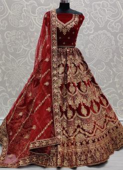 Maroon Velvet Resham Work Designer Bridal Wear Lehenga Choli