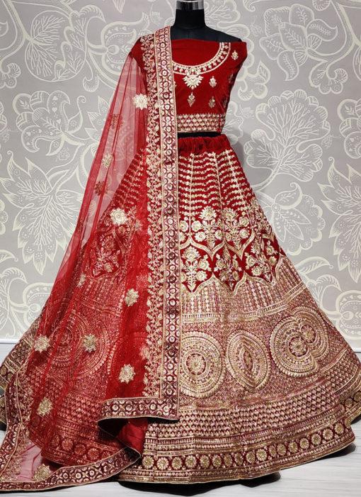 Red Velvet Resham Work Designer Wedding Lehenga Choli
