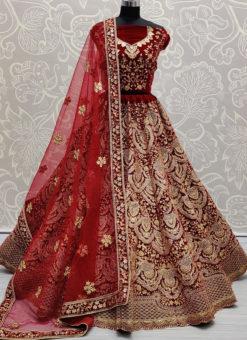 Maroon Velvet Designer Wedding Resham Work Lehenga Choli