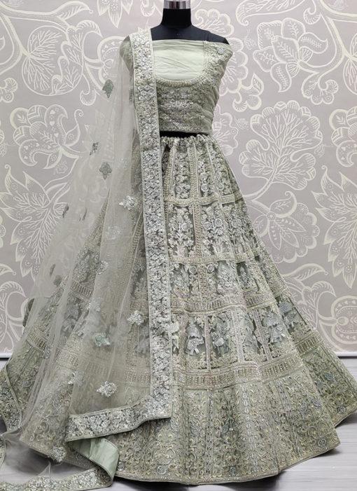 Grey Net Embroidered Work Designer Party Wear Lehenga Choli